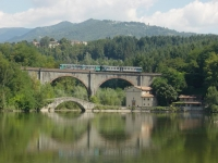 "Pontecosi: the bridge, the railroad, the Church of the ""Madonna Addolorata""."